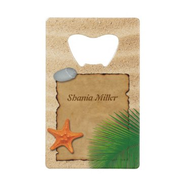 Beach Themed Parchment on Sand Background - Bottle Opener
