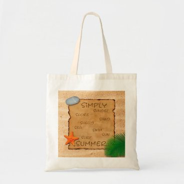 Beach Themed Parchment on Sand Background - Budget Tote