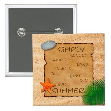 Beach Themed Parchment on Sand Background - Button