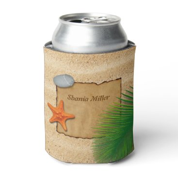 Beach Themed Parchment on Sand Background - Can Cooler