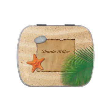 Beach Themed Parchment on Sand Background - Candy Tin