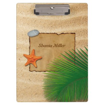 Beach Themed Parchment on Sand Background - Clipboard