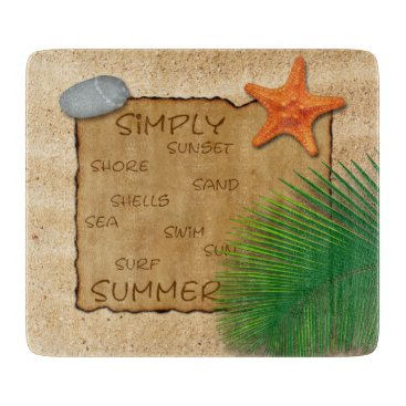 Beach Themed Parchment on Sand Background - Cutting Board
