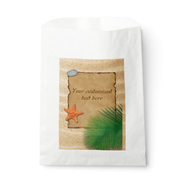 Beach Themed Parchment on Sand Background - Favor Bag