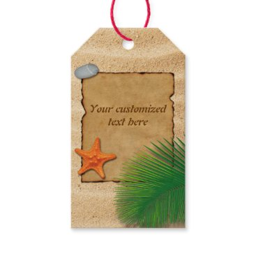 Beach Themed Parchment on Sand Background - Gift Tag