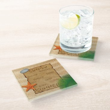 Parchment on Sand Background - Glass Coaster