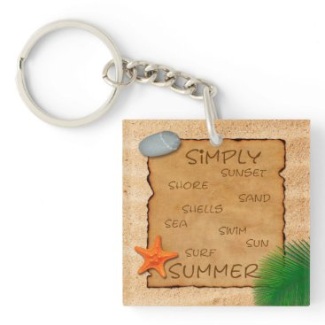 Beach Themed Parchment on Sand Background - Keychain