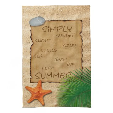 Beach Themed Parchment on Sand Background - Kitchen Towel
