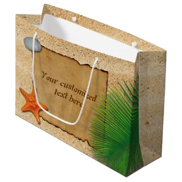 Beach Themed Parchment on Sand Background - Large Gift Bag