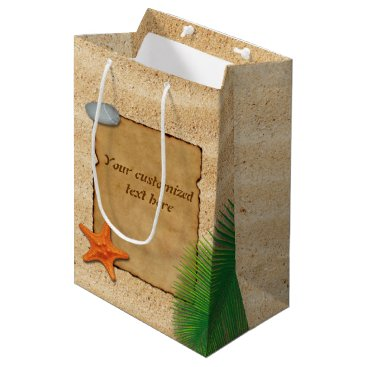 Beach Themed Parchment on Sand Background - Medium Gift Bag