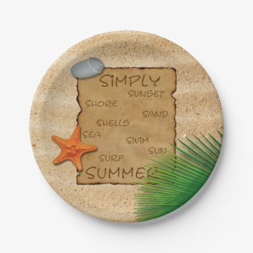 Beach Themed Parchment on Sand Background - Paper Plate