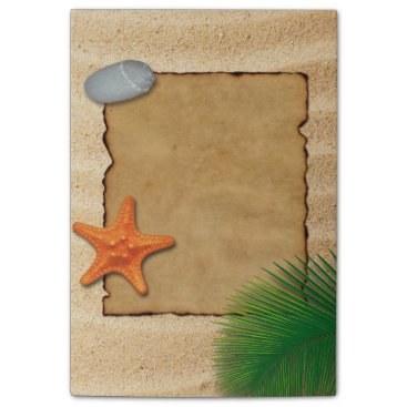 Beach Themed Parchment on Sand Background - Post-it® Note