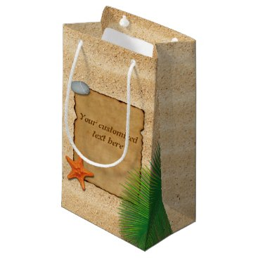 Beach Themed Parchment on Sand Background - Small Gift Bag
