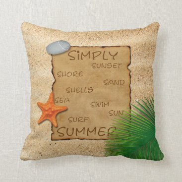 Beach Themed Parchment on Sand Background - Square Pillow