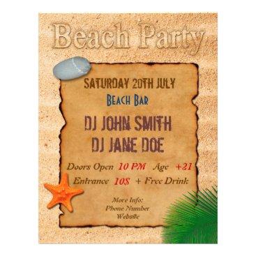 Beach Themed Parchment on Sand - Beach Party Event Flyer