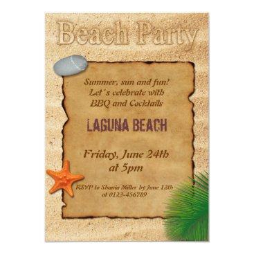 Beach Themed Parchment on Sand - Beach Party Invitation