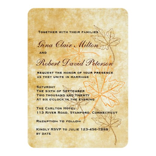 Parchment Orange Brown Leaves Vintage Fall Wedding 45x625 Paper Invitation Card
