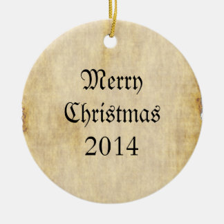 Parchment Paper Background Christmas Tree Ornament