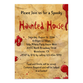 Parchment Paper with Blood Splatter Invitations
