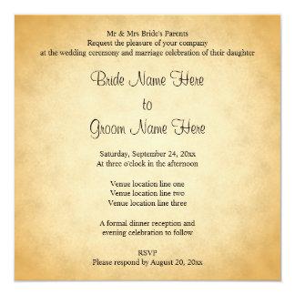 Parchment Pattern Design Wedding Card