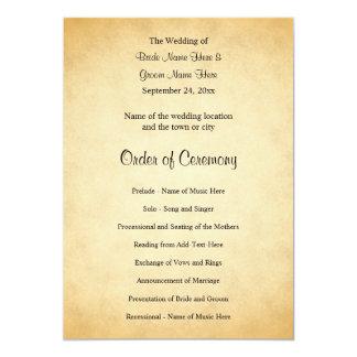 Parchment Pattern Design Wedding Program Card