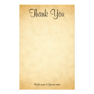 Parchment Pattern Design Wedding Thank You Stationery
