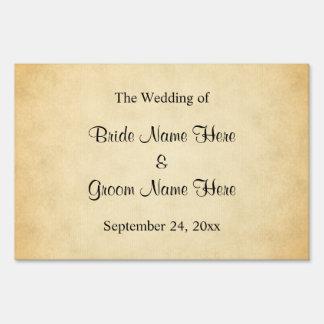 Parchment Pattern Design Wedding Lawn Sign
