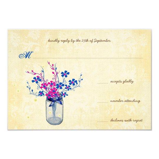 Parchment Pink and Navy Wild Flower Mason Jar Card