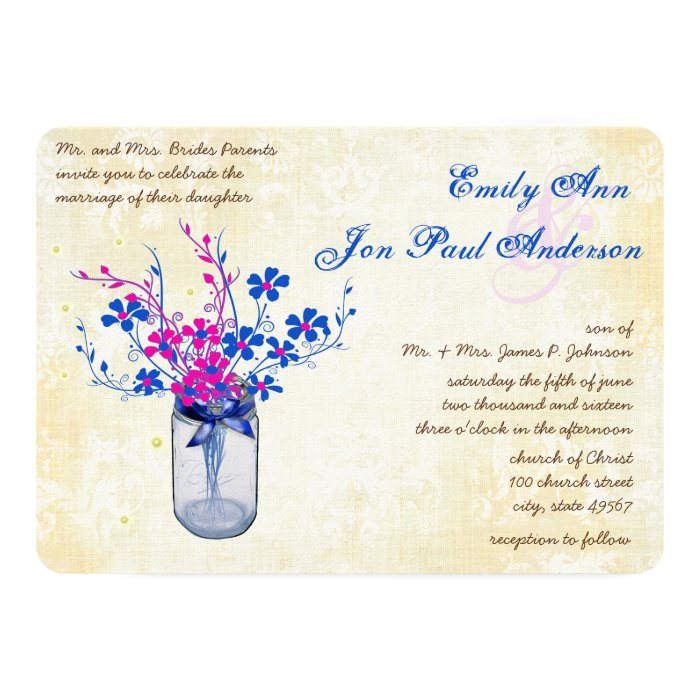 Parchment Pink and Navy Wild Flower Mason Jar Card