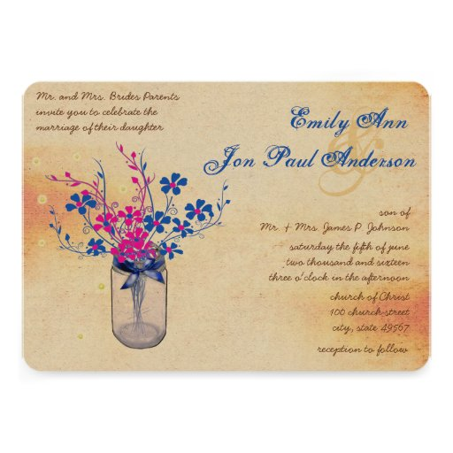 Parchment Pink and Navy Wild Flower Mason Jar Custom Announcements