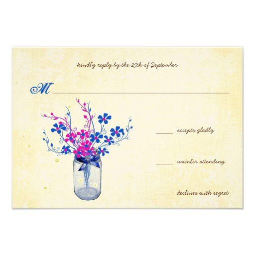 Parchment Pink and Navy Wild Flower Mason Jar Personalized Invites