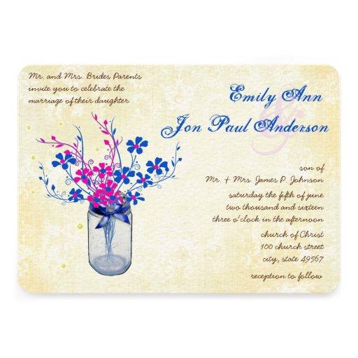 Parchment Pink and Navy Wild Flower Mason Jar Custom Invite