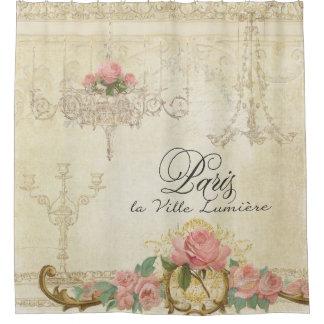 Parchment Romance Roses Paris Parisian Chandelier Shower Curtain