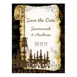 Parchment Scroll Chandelier Save the Date Postcard