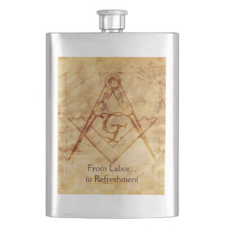 Parchment Square and Compass Hip Flask