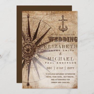 Parchment Style Vintage Nautical Map Wedding