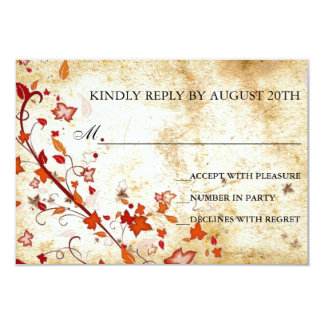 Parchment Swirls Maple Leaves Vintage Fall RSVP Card