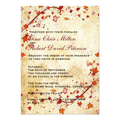 Parchment Swirls Maple Leaves Vintage Fall Wedding 45x625 Paper Invitation Card