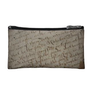 Parchment text with antique writing, old paper cosmetic bags