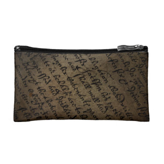 Parchment text with antique writing, old paper cosmetic bag
