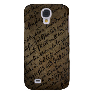Parchment text with antique writing, old paper samsung galaxy s4 case