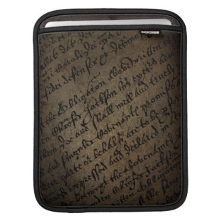 Parchment text with antique writing, old paper iPad sleeve