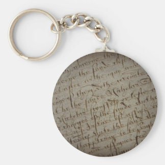 Parchment text with antique writing, old paper key chain