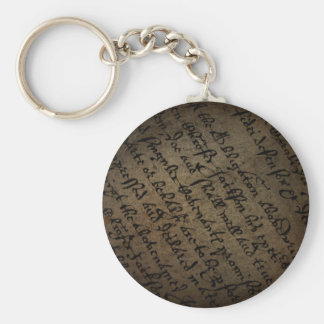 Parchment text with antique writing, old paper keychain