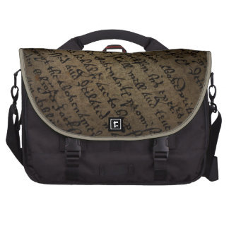 Parchment text with antique writing, old paper bag for laptop
