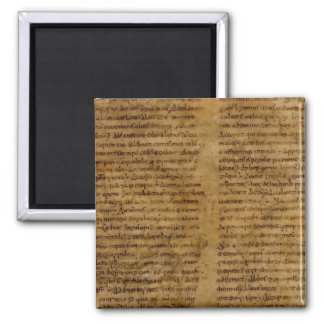 Parchment text with antique writing, old paper magnet