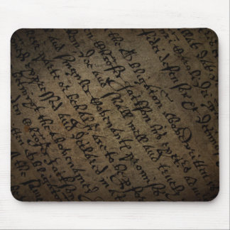 Parchment text with antique writing, old paper mousepad