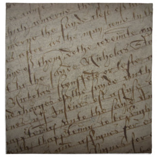 Parchment text with antique writing, old paper printed napkin