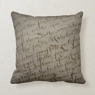 Parchment text with antique writing, old paper throw pillows