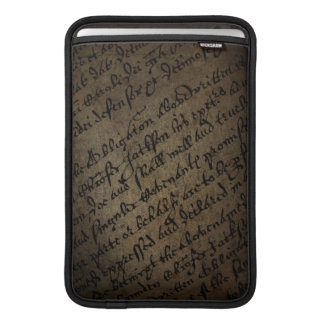 Parchment text with antique writing, old paper sleeve for MacBook air